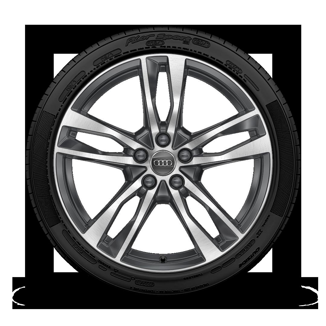 Легкосплавные диски, дизайн «5 двойных спиц», с серыми контрастными элементами, частично полированные. Размер 8, 5 J × 19, с шинами 245/45 R 19