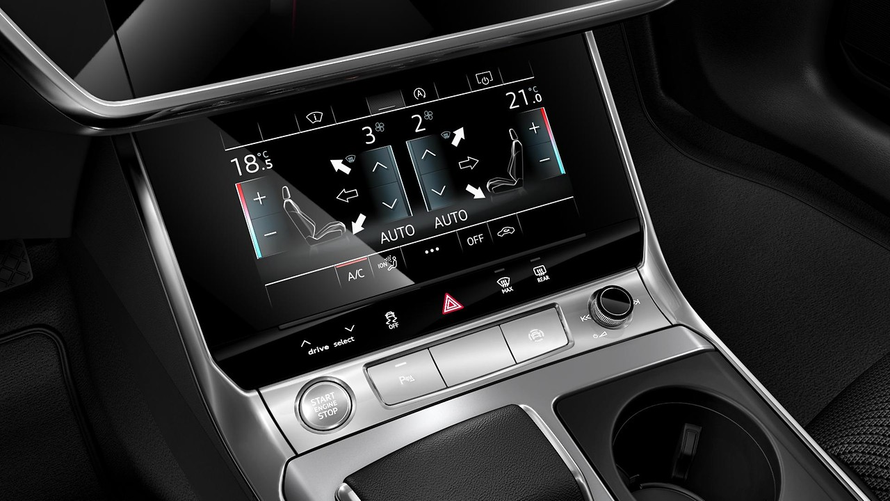 Кнопки управления со стеклянным покрытием черного цвета, с тактильной обратной связью, с расширенной отделкой aluminium