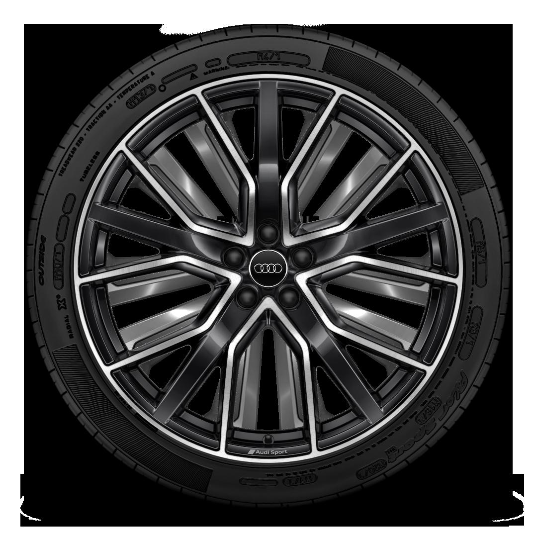 Легкосплавные диски Audi Sport, дизайн «5 спиц V Star», черные блестящие (Anthracite Black), с полированной обводкой, размер 10 J × 22, с шинами 285/40 R 22