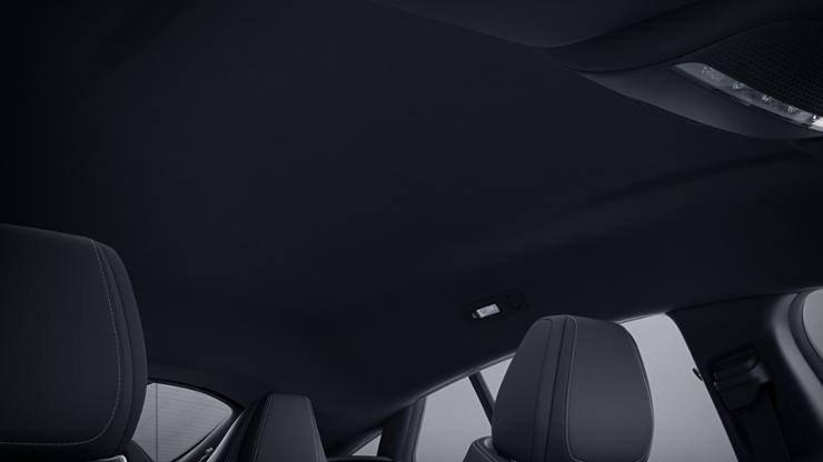 Обивка потолка тканью чёрного цвета